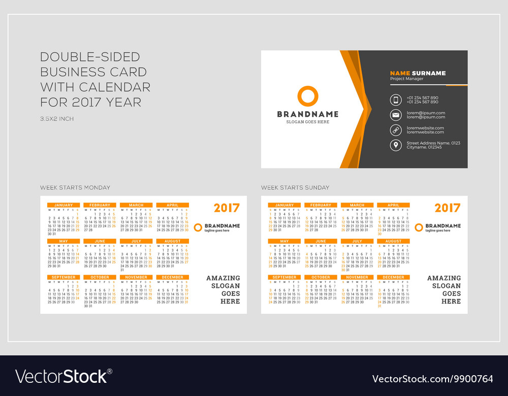 double sided business card template with calendar royalty free vector image vectorstock. Black Bedroom Furniture Sets. Home Design Ideas