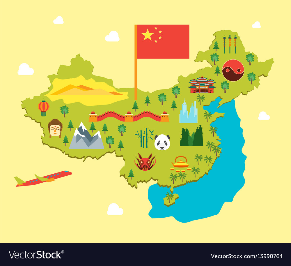 Cartoon travel china tourism concept vector image