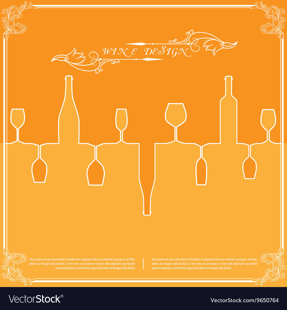 Orange silhouettes of wine attributes background vector image