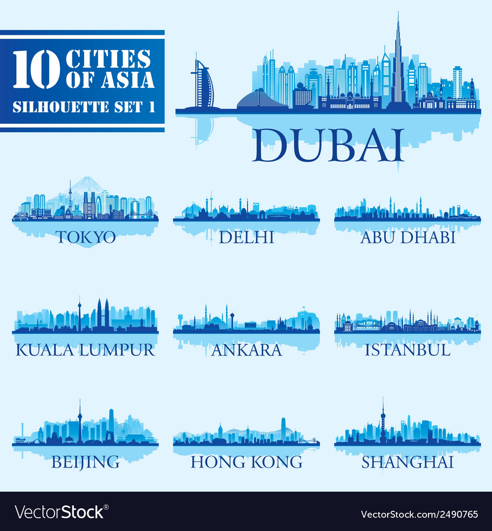 Silhouette city set of Asia 1 vector image