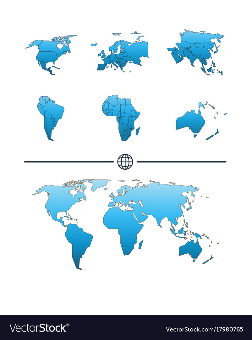 World map and continents royalty free vector image world map and continents vector image gumiabroncs Image collections