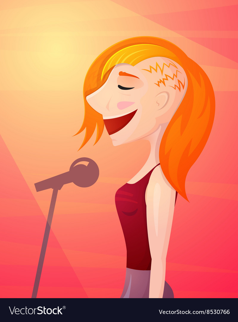 Girl singer singing isolated vector image