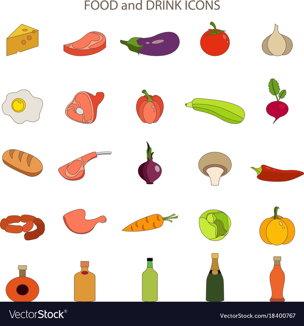 Food and drink flat icons set vector image