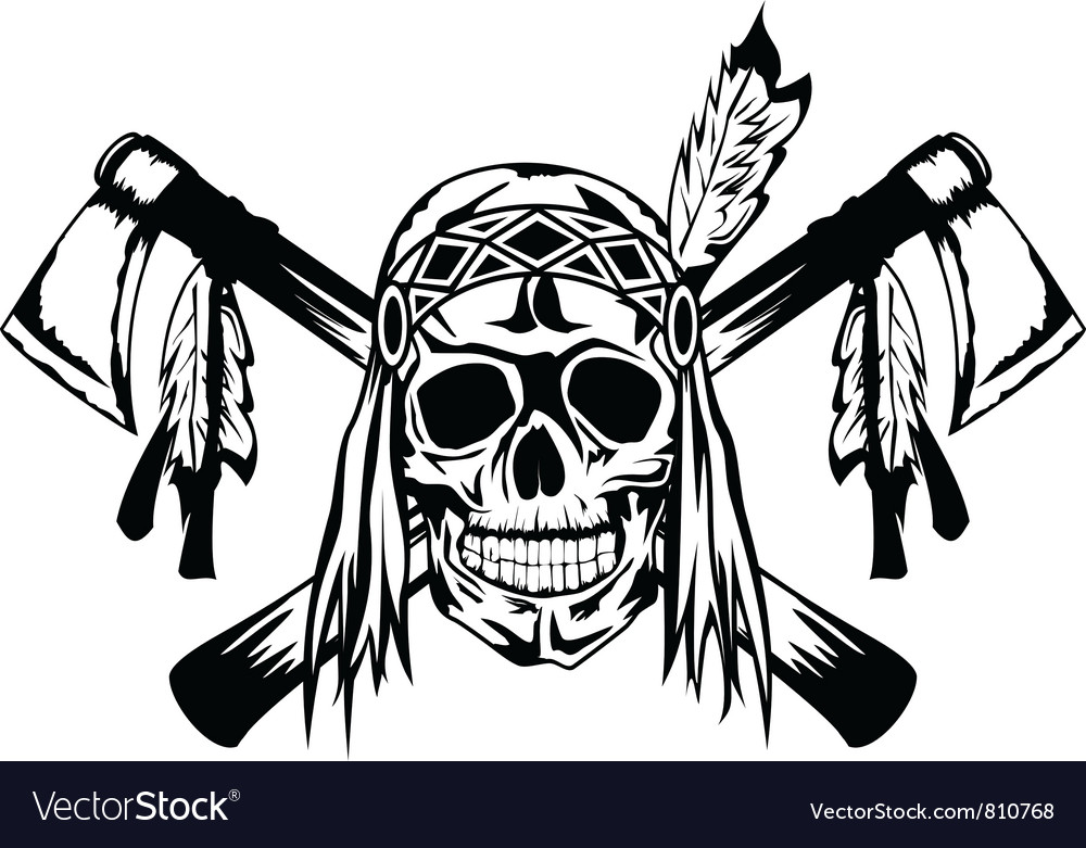 Indian with tomahawk Vector Image