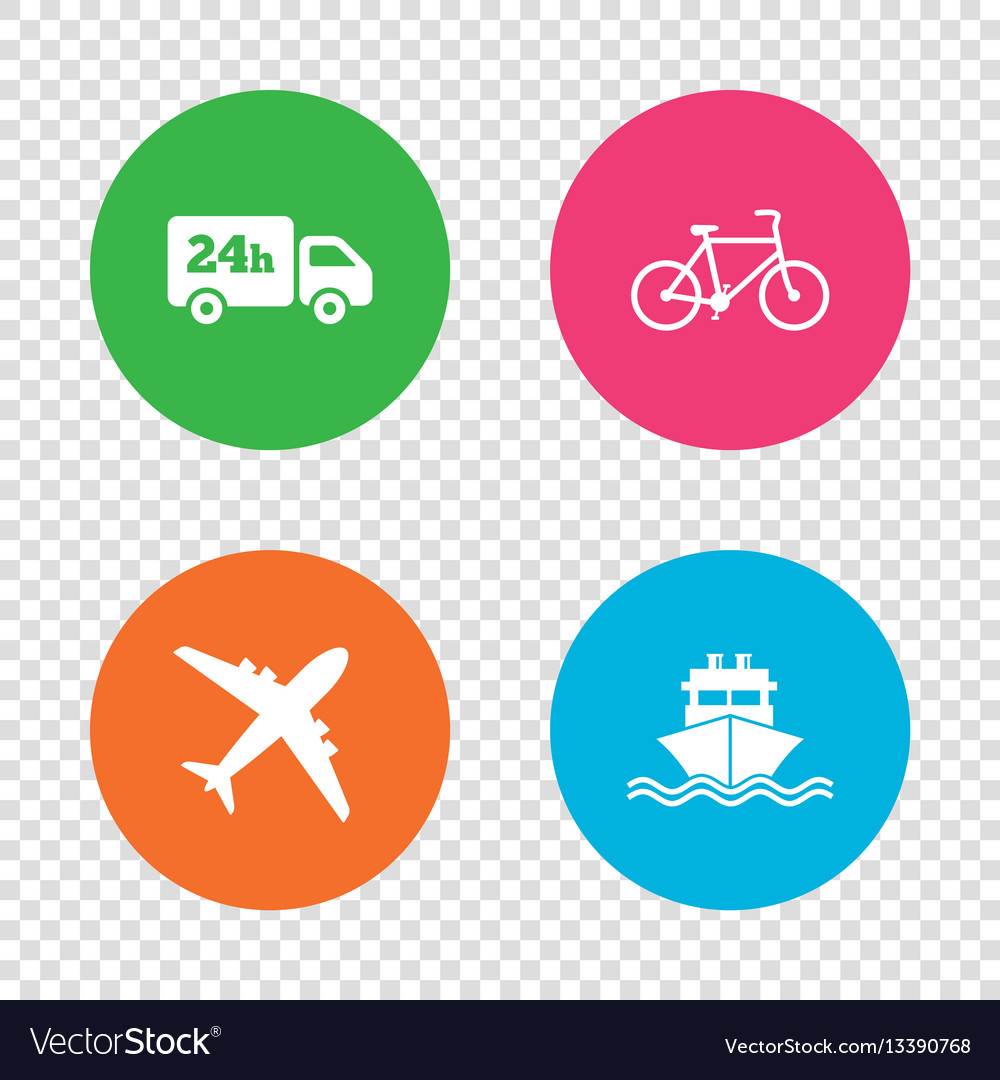 Cargo truck shipping bicycle delivery service vector image