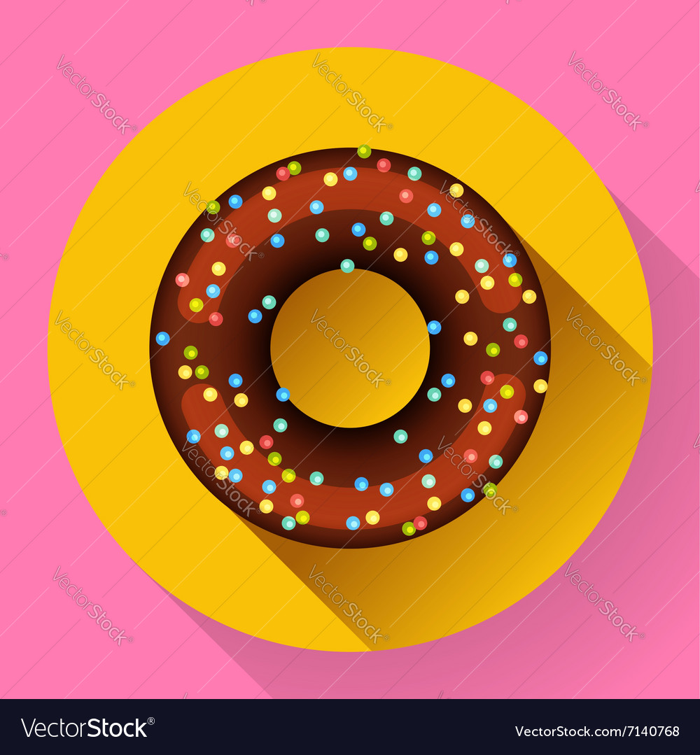 Cute sweet colorful chocolate donut icon Flat vector image