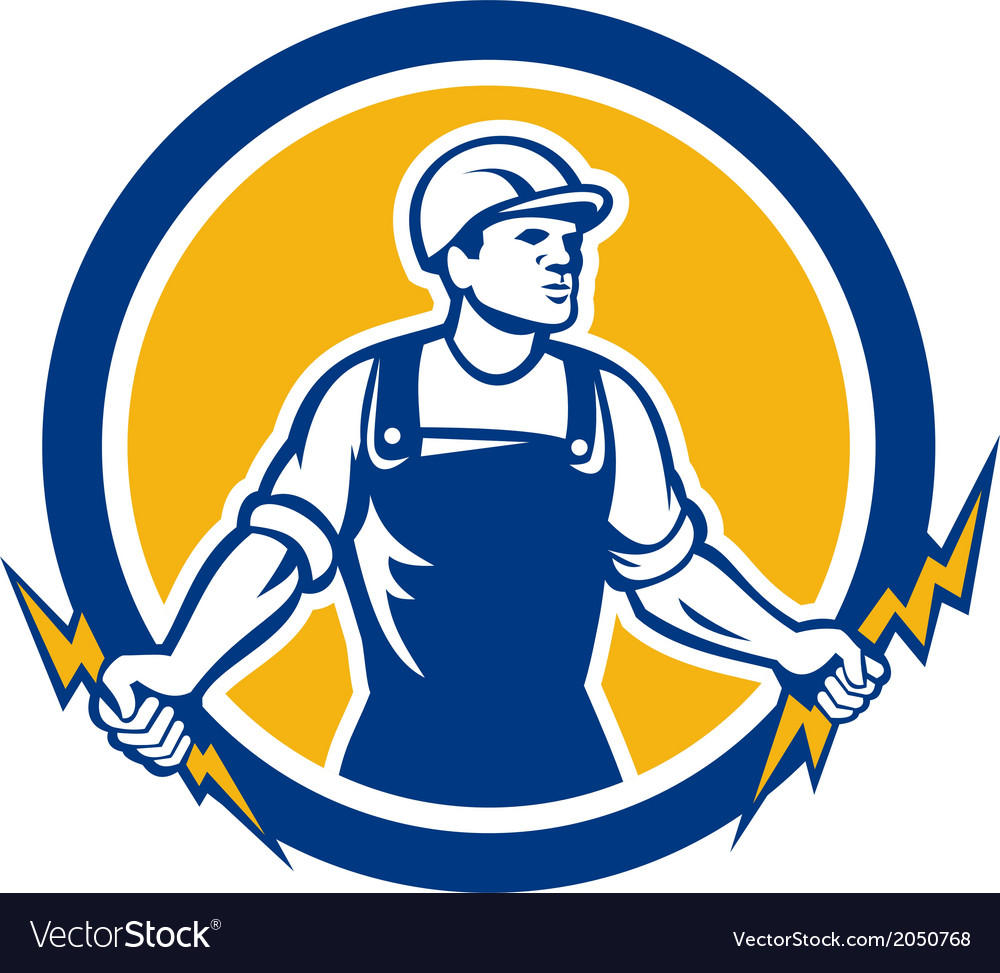 Electrician Holding Two Lightning Bolts Side Retro vector image