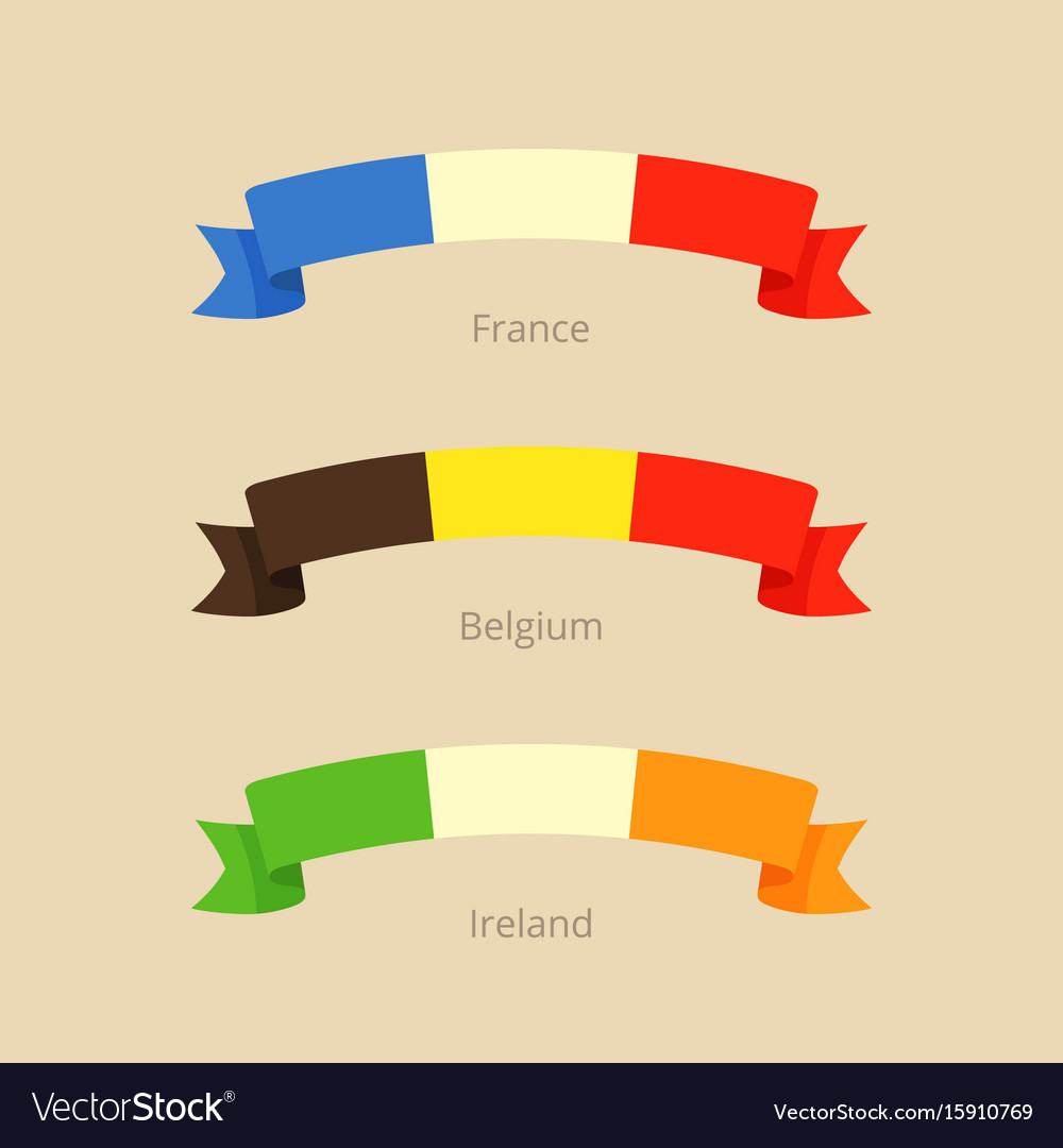 Ribbon with flag of france belgium and ireland vector image