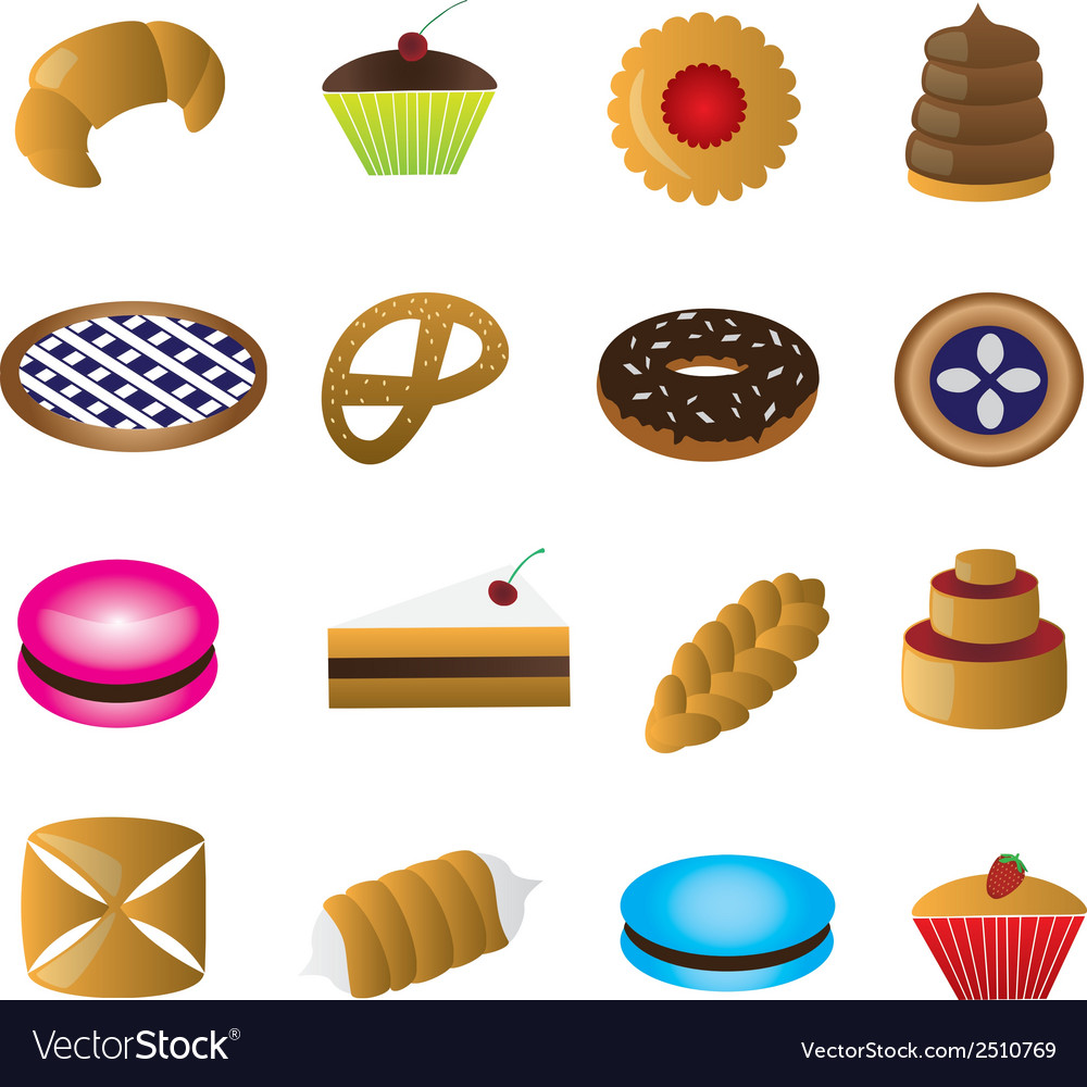Sweet desserts colorful eps10 vector image