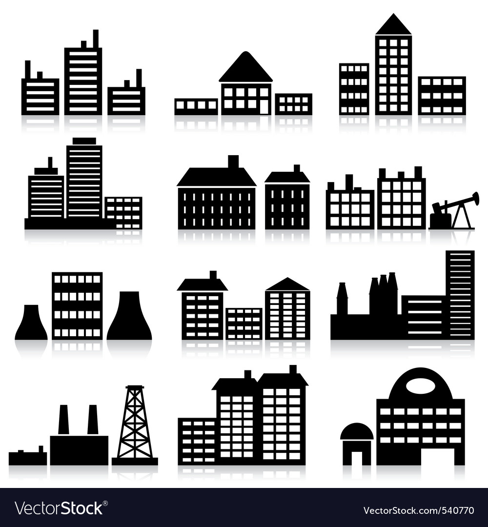 House and building icons vector image