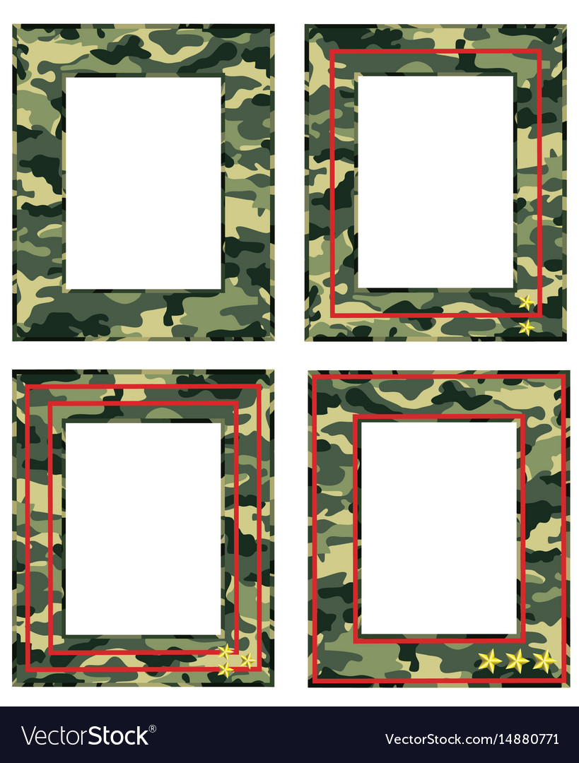 Camouflage photo frame with military distinctions vector image