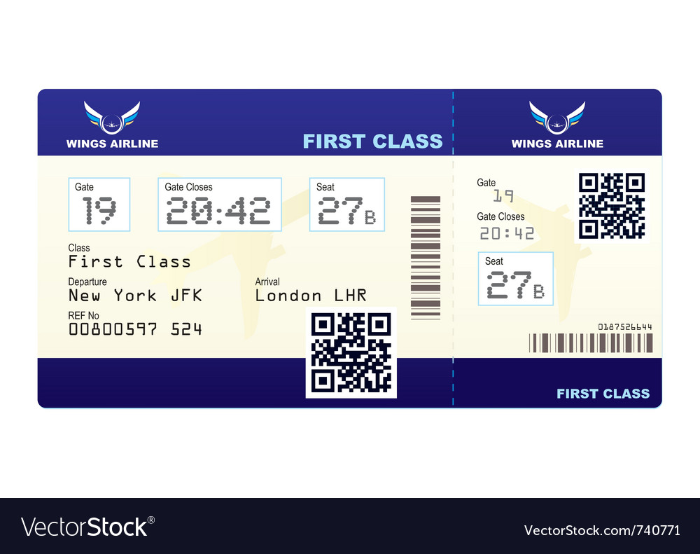 Fake Plane Ticket Vector Image  Fake Plane Ticket Template