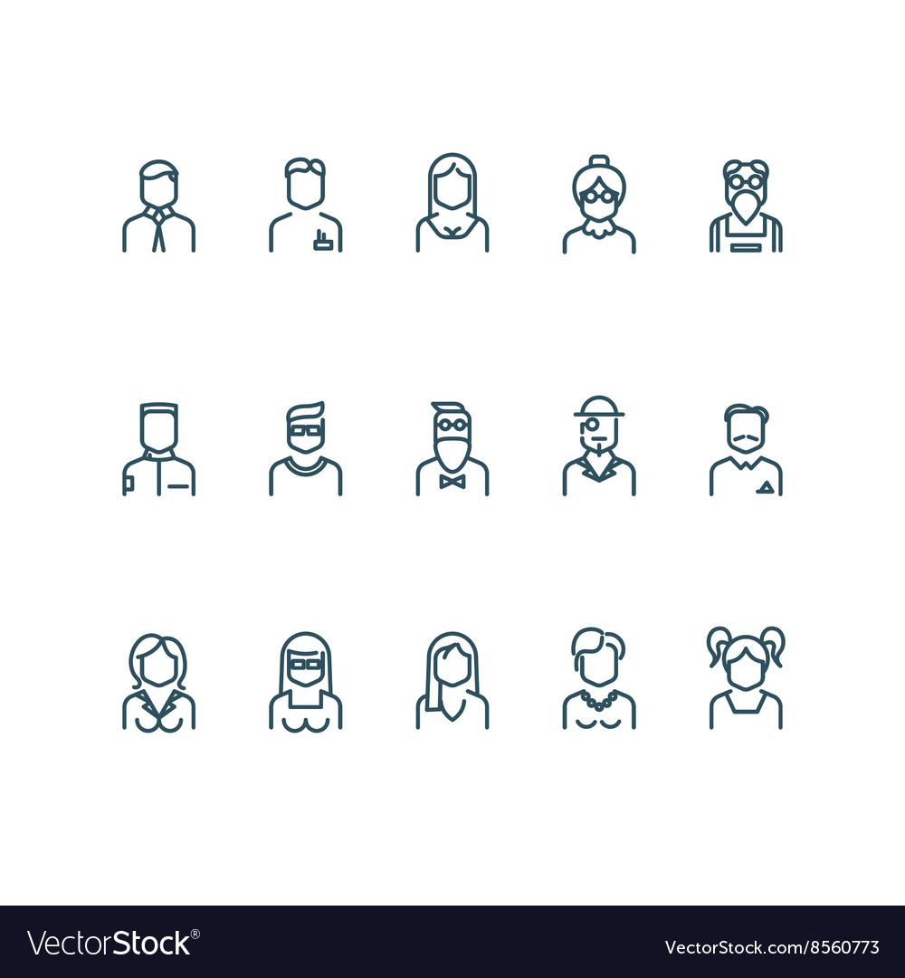 People user profile line icons vector image