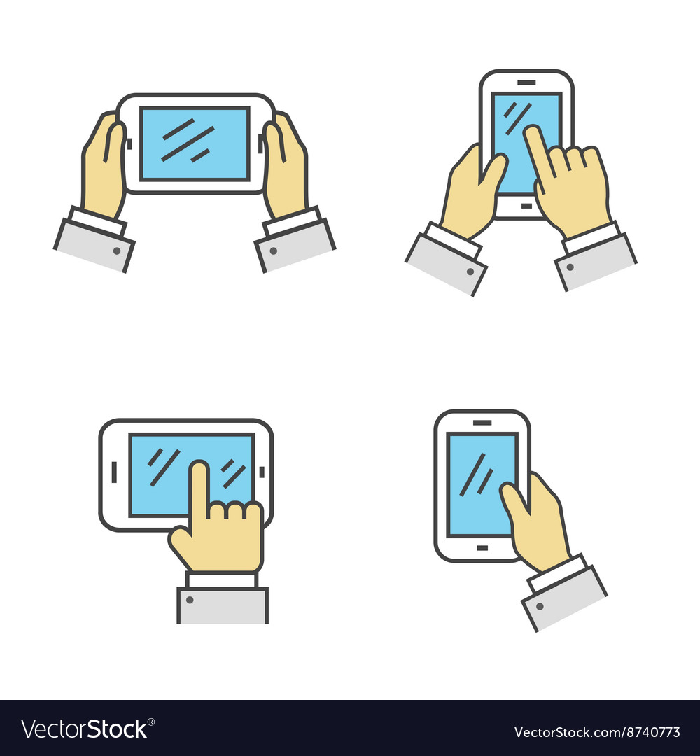 Set of Phone in Hand Isolated Sign vector image