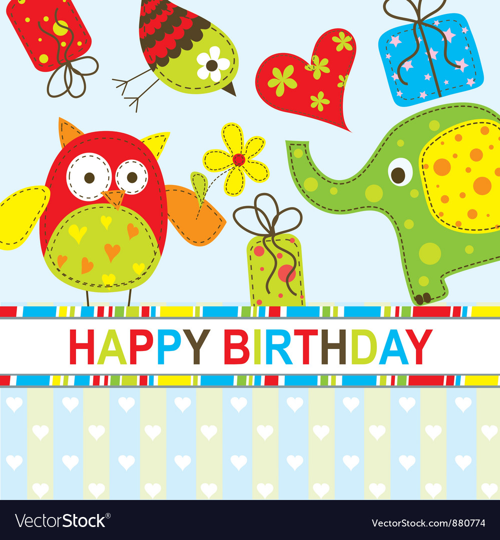 Children Birthday Card Royalty Free Vector Image – Birthday Cards Children