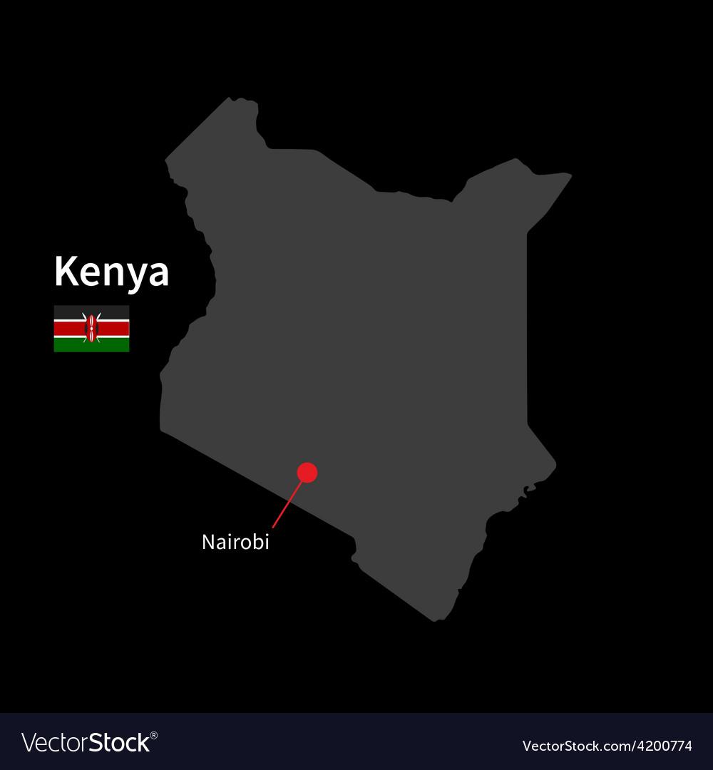 Detailed map of Kenya and capital city Nairobi vector image