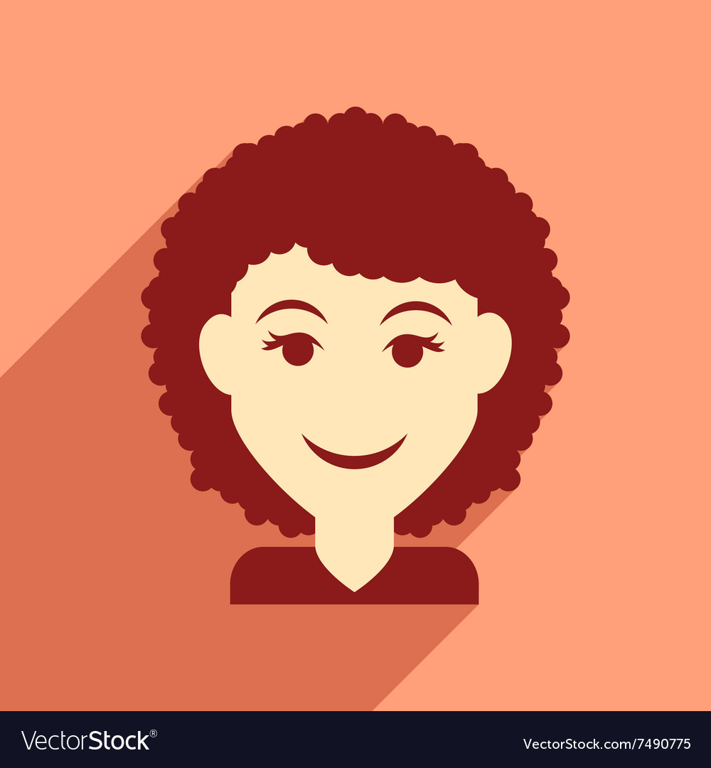 Flat web icon with long shadow women haircut