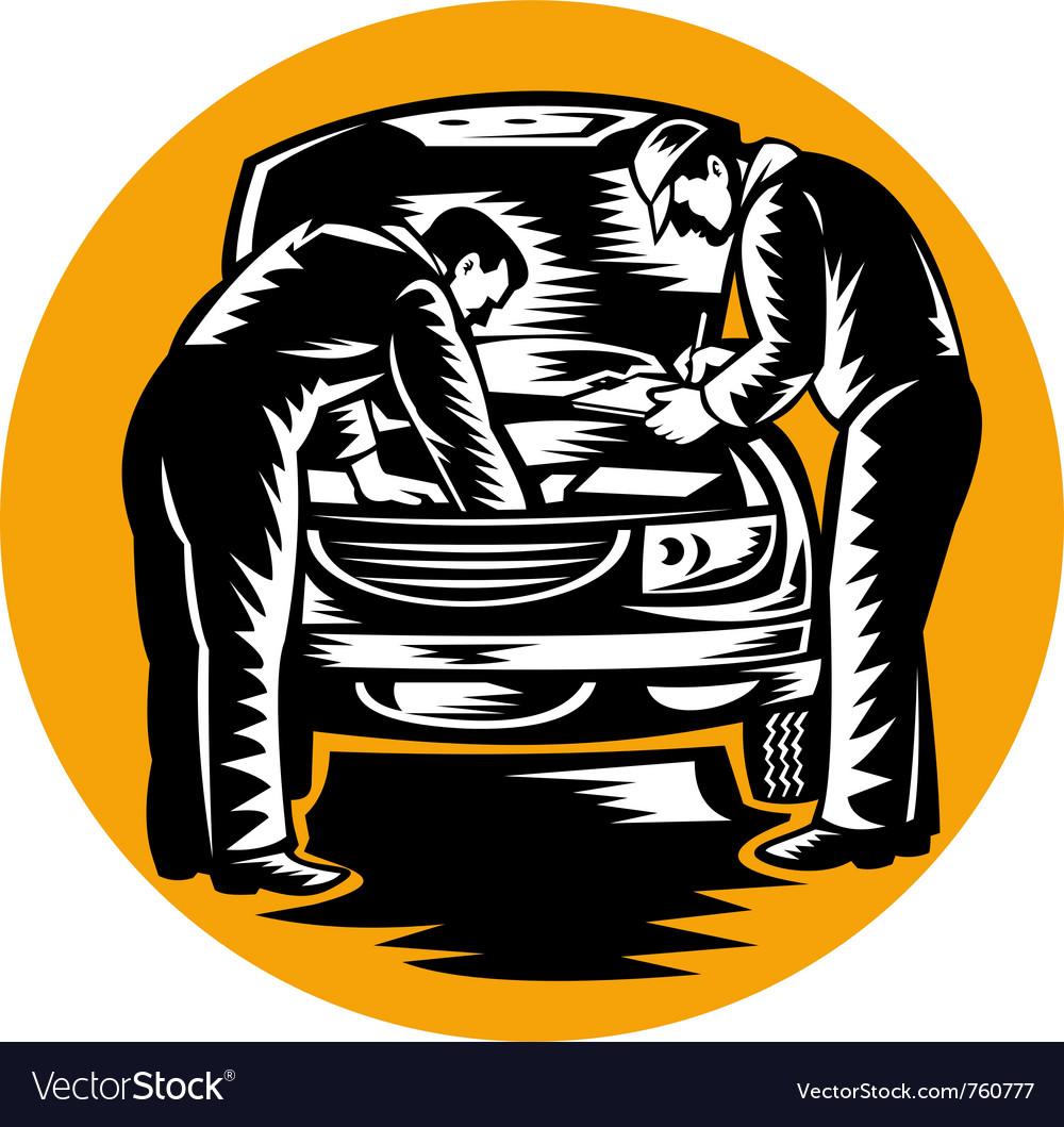 Auto mechanic worker car repair vector image