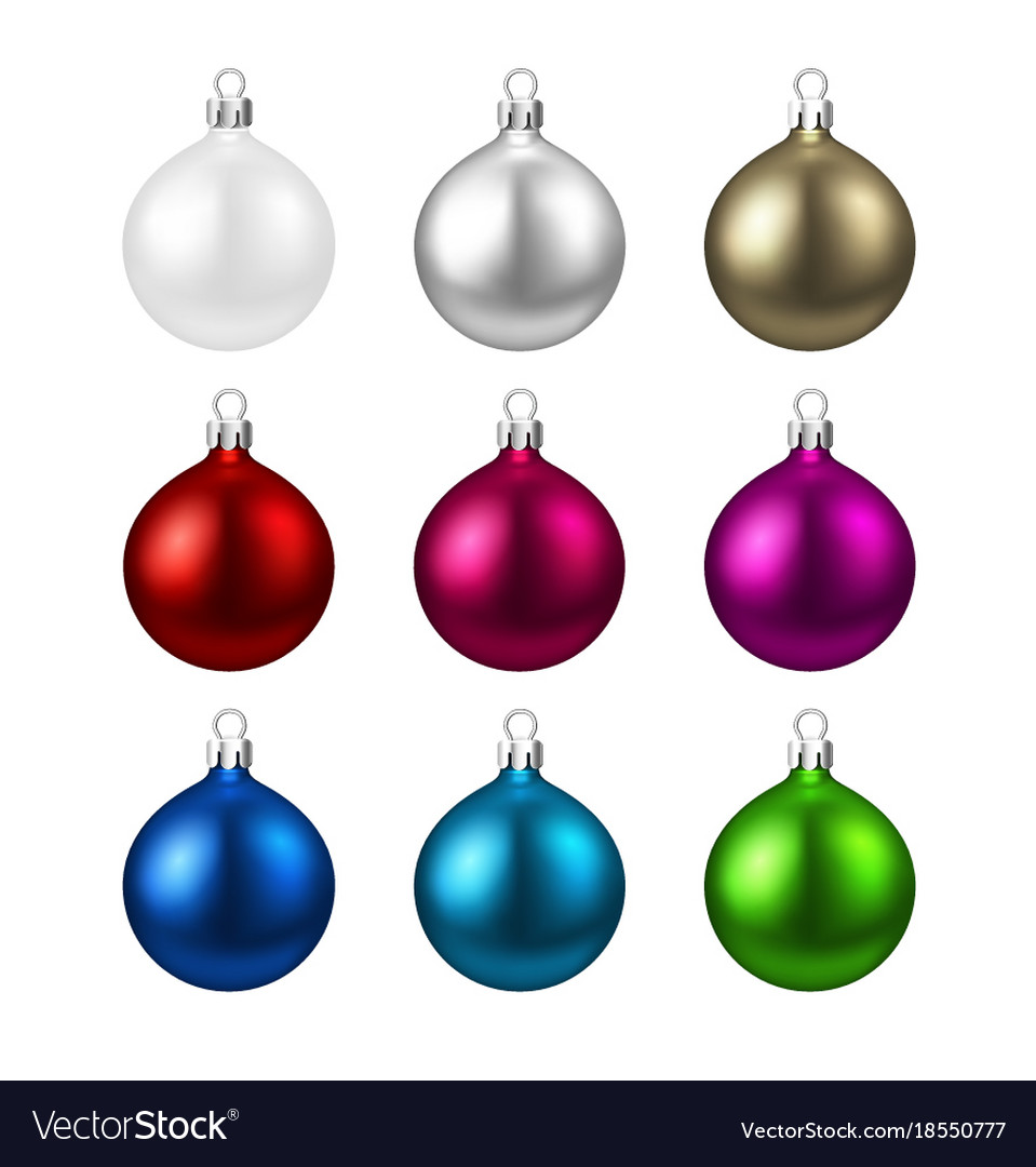 Colorful isolated round christmas balls set vector image