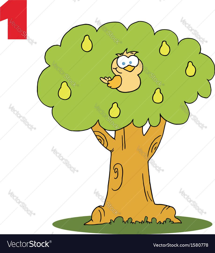 cartoon bird in a tree royalty free vector image