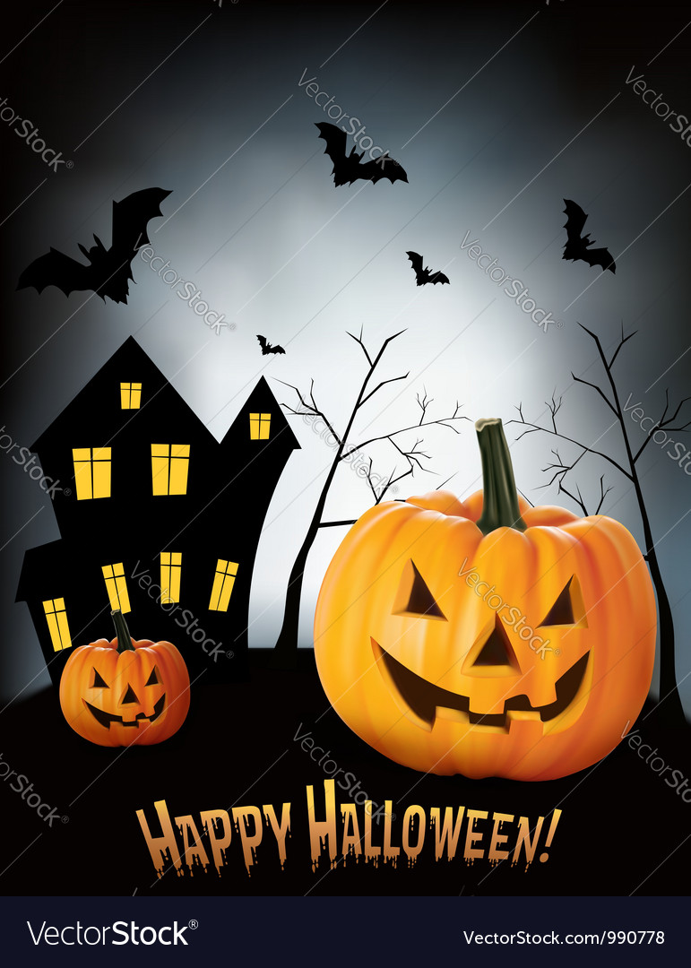 Halloween background with two pumpkins and house vector image