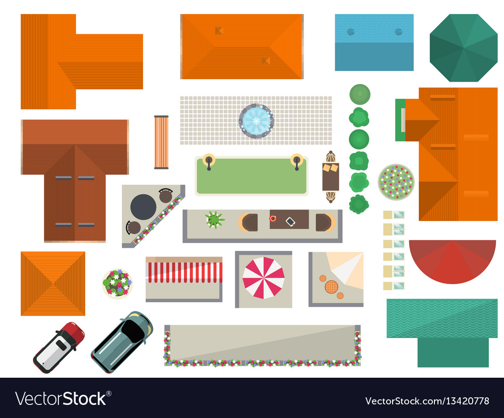 Top view landscape design set vector image