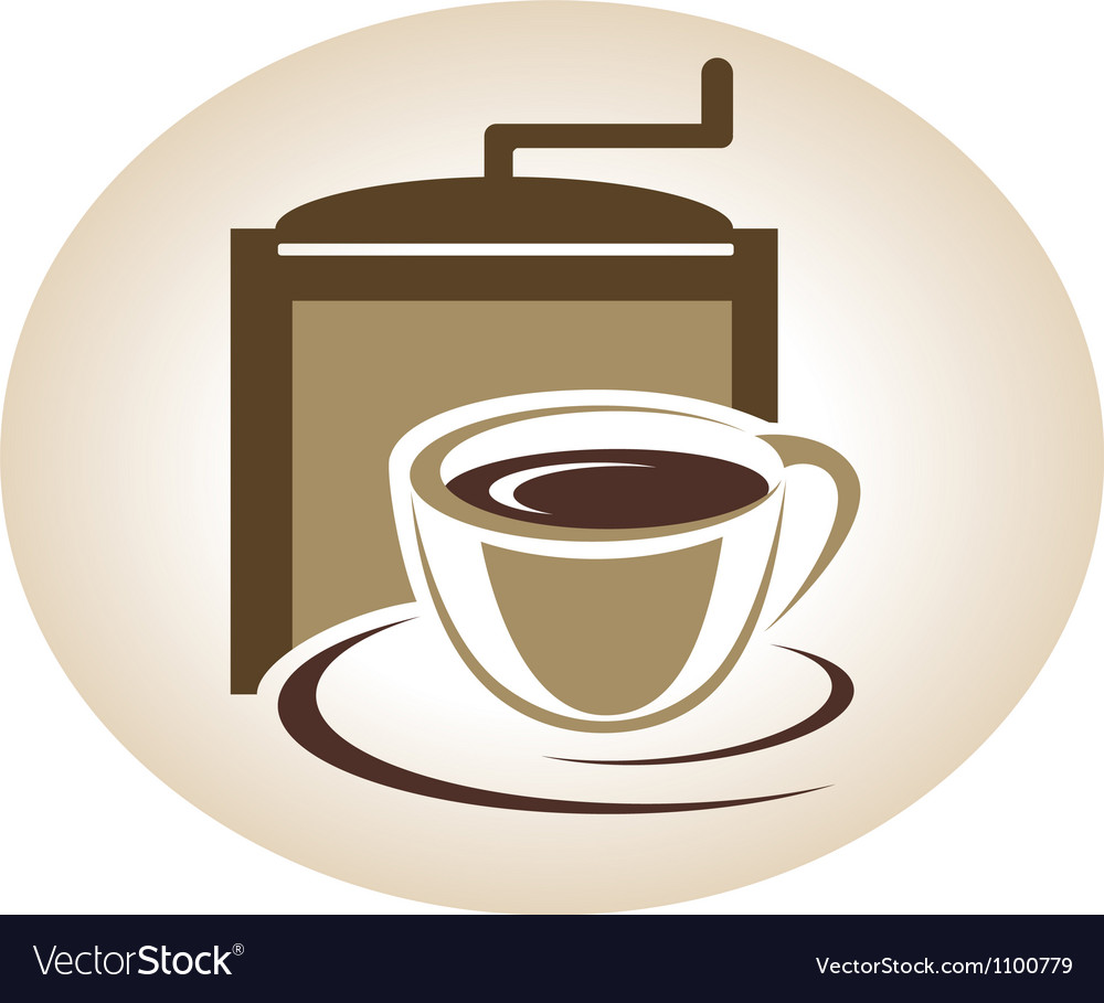 Coffee mill and cup emblem vector image