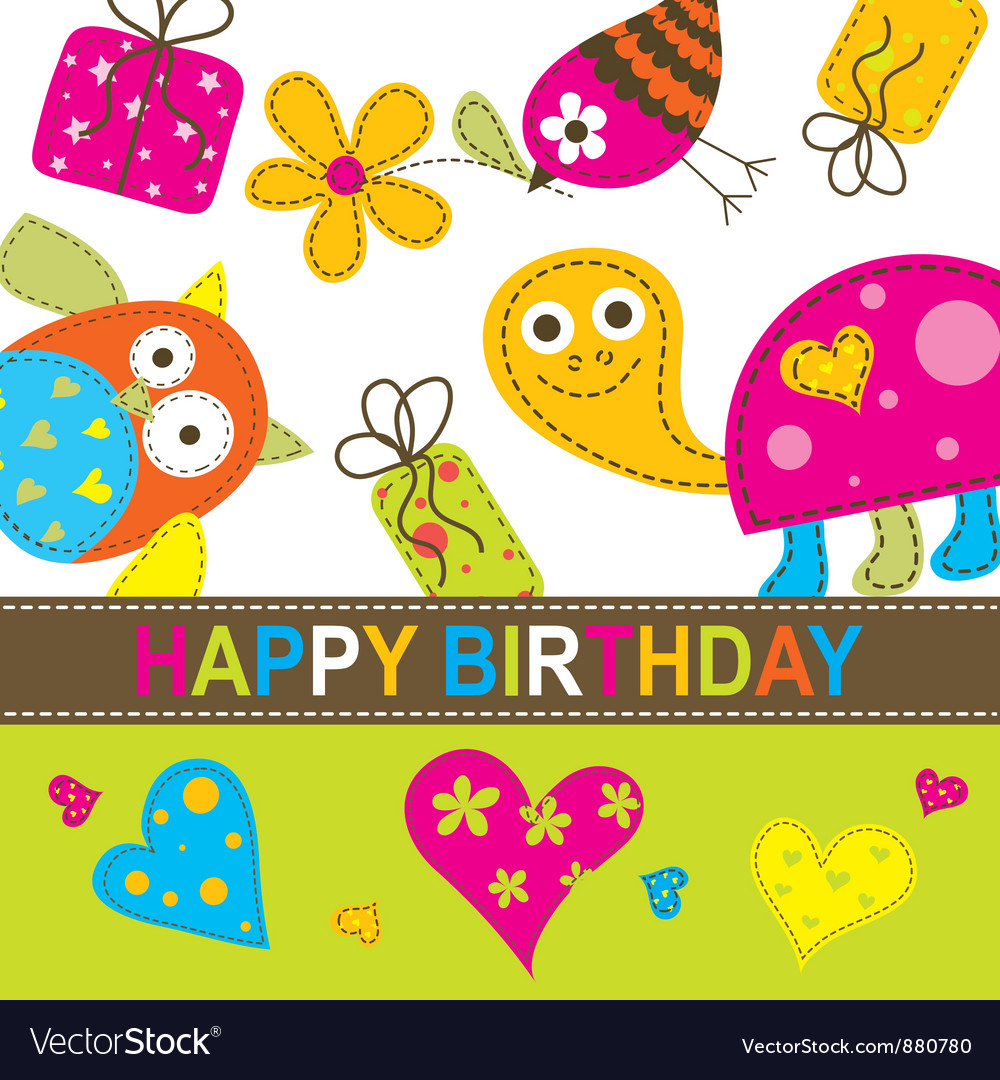 Children Birthday Card Royalty Free Vector Image – Birthday Card for Child