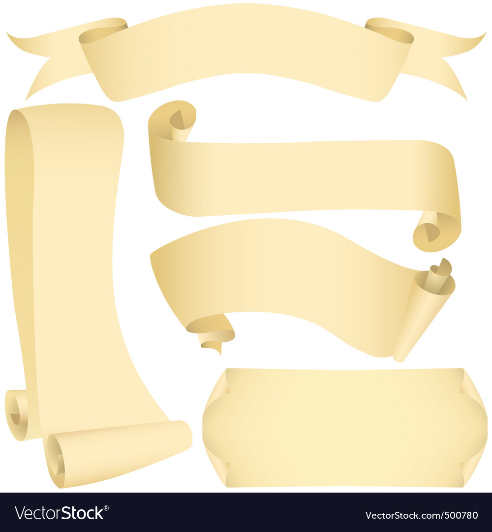 Grunge banners and scrolls set vector image