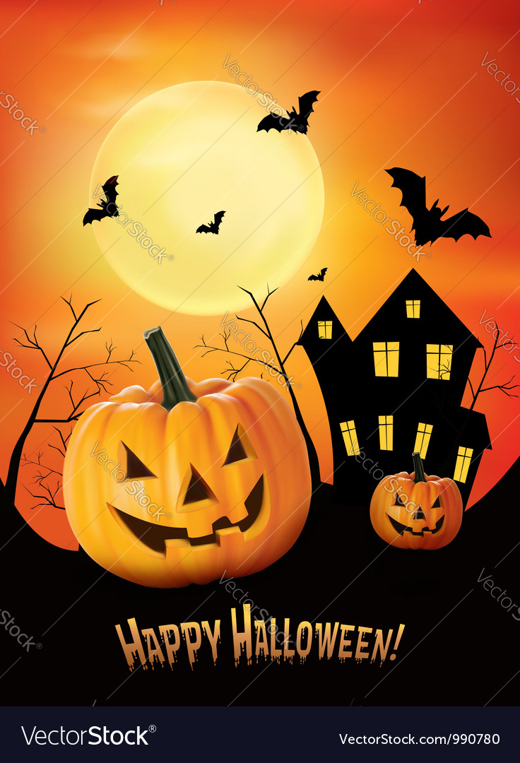 Halloween red background with pumpkins vector image