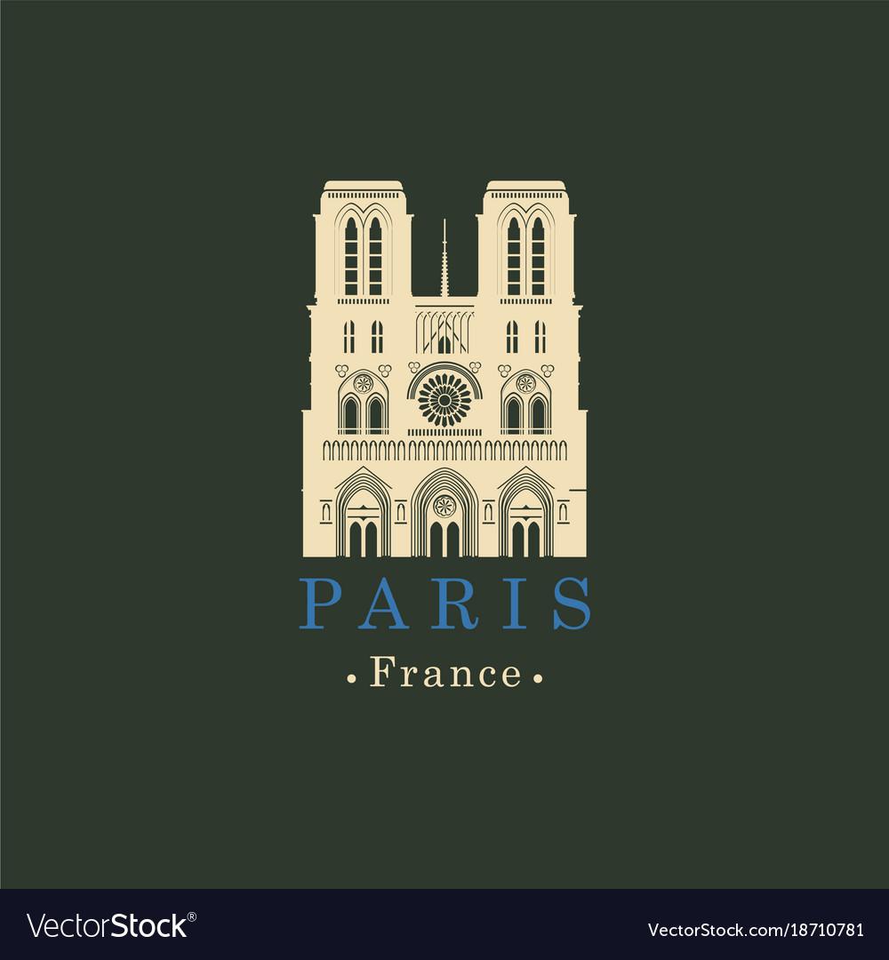 Cathedral of notre dame de paris france vector image