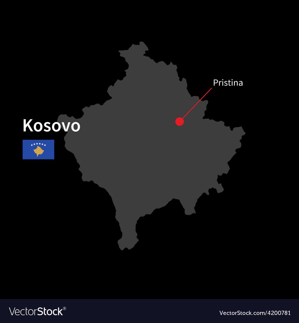 Detailed Map Of Kosovo And Capital City Pristina Vector Image - pristina map