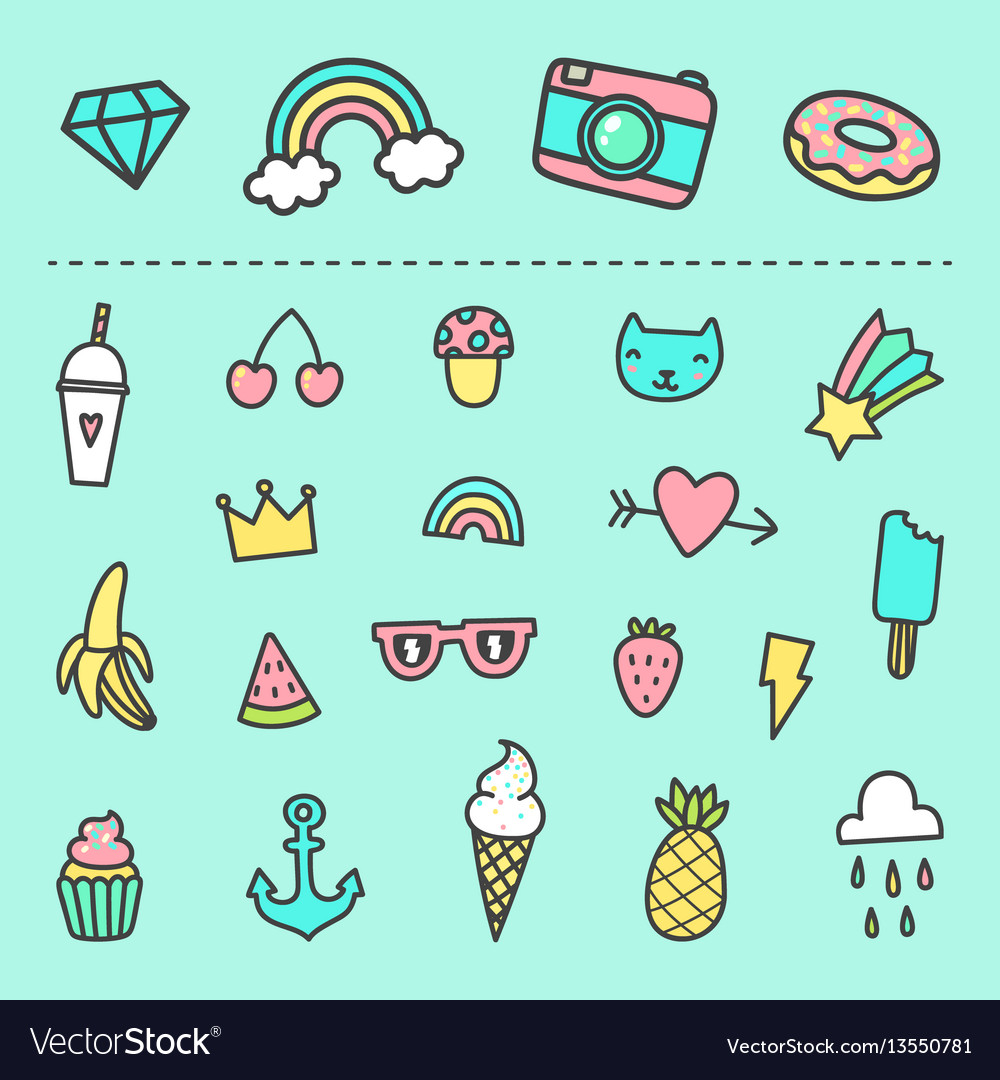 Set of cute cartoon stickers vector image