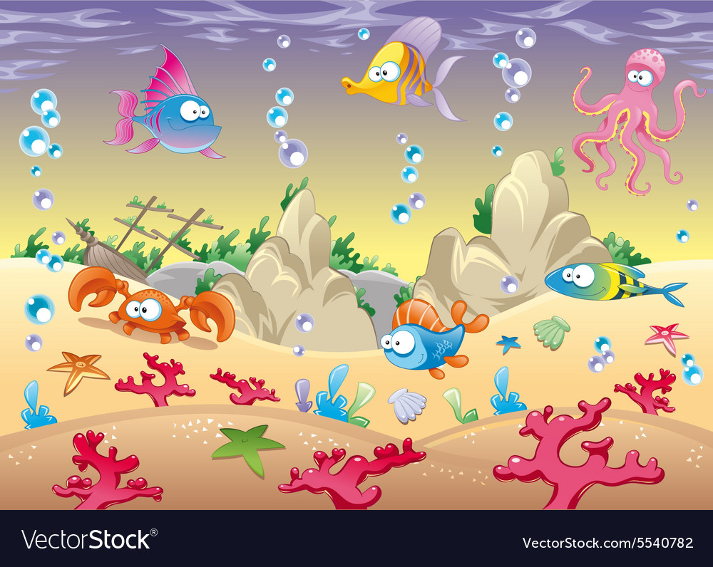 Family of marine animals in the sea vector image