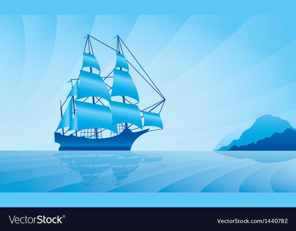 Sailing ship on skyline vector image
