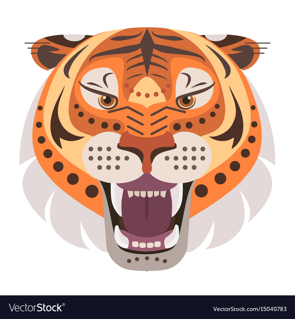 Angry tiger head logo decorative emblem vector image