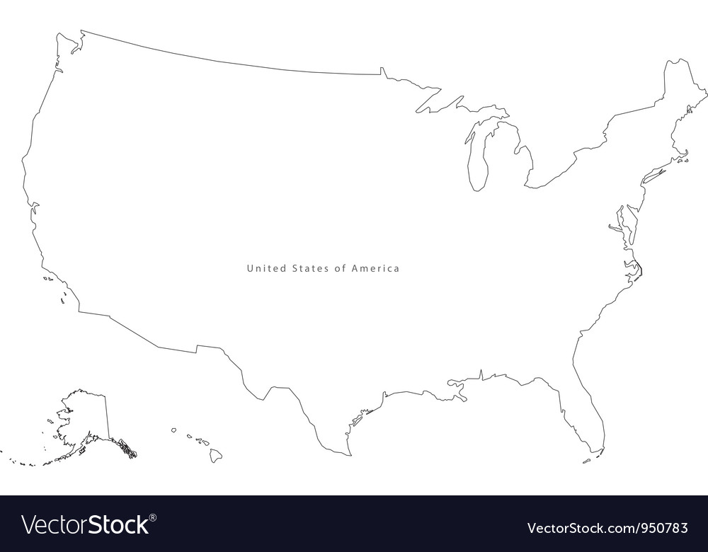 Black White USA Outline Map Royalty Free Vector Image - Map united states black and white