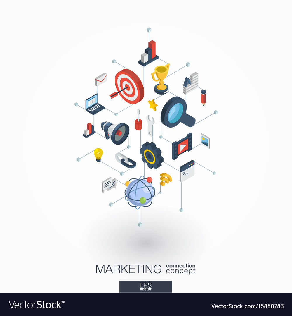 Marketing integrated 3d web icons digital network vector image