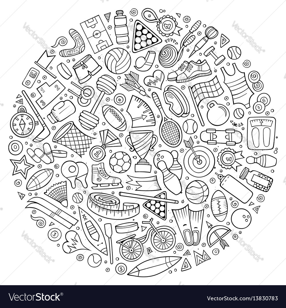 Set of sport cartoon doodle objects vector image