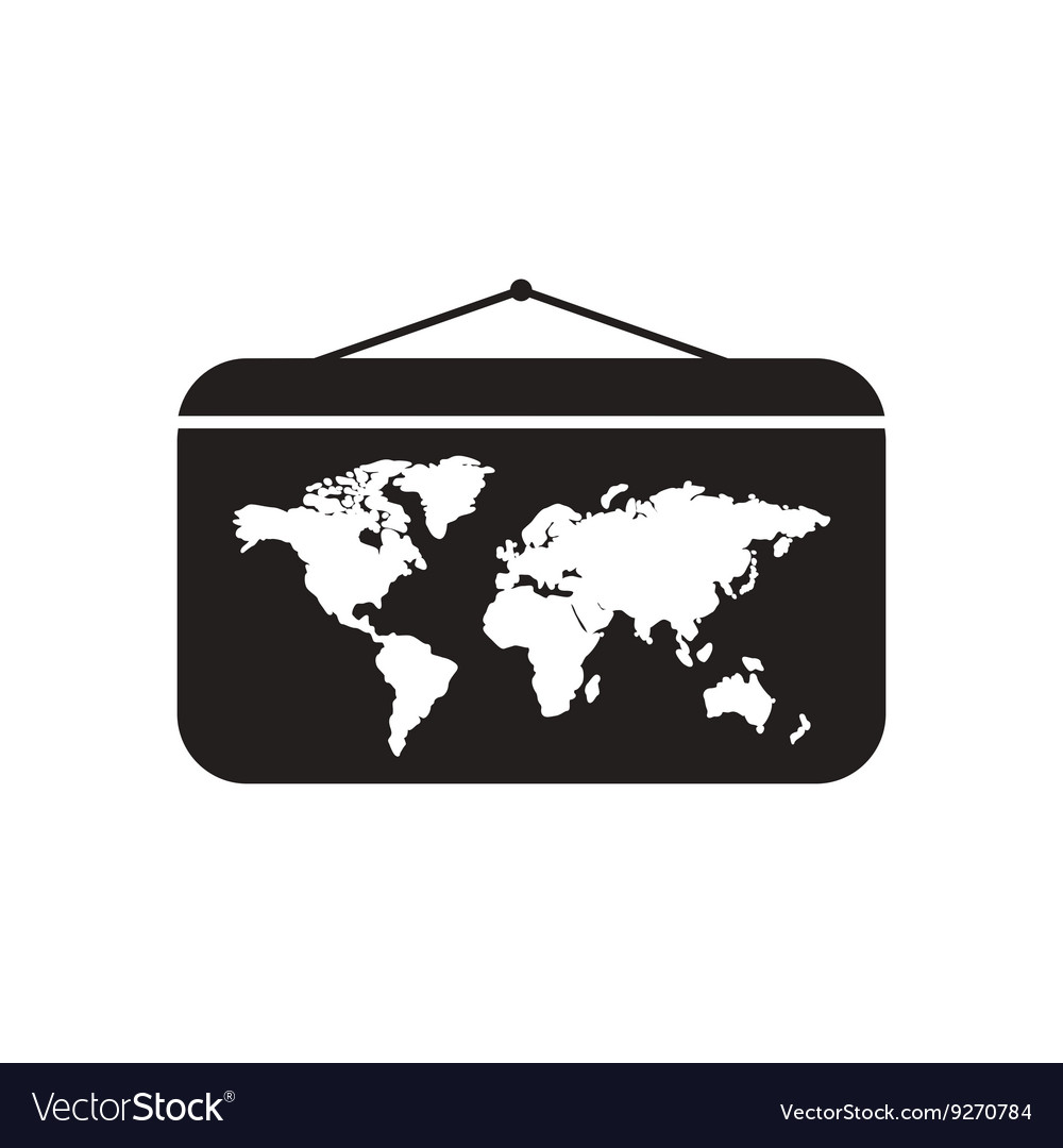Flat icon in black and white world map royalty free vector flat icon in black and white world map vector image gumiabroncs Image collections