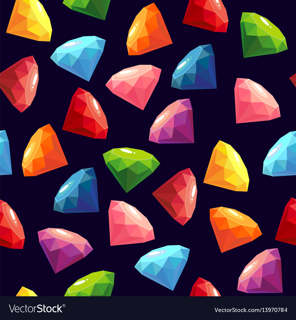 Seamless texture with gems vector image