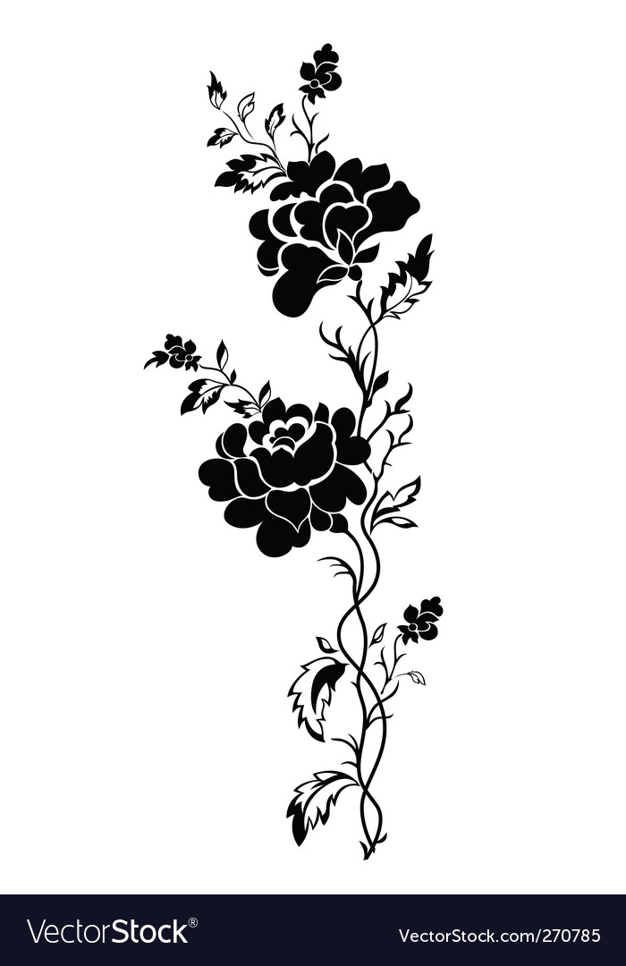 Vertical floral pattern rose tattoo vector image