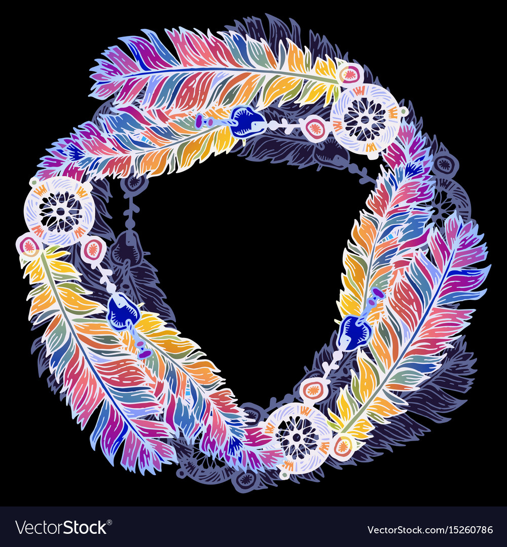 Hand drawn feathers wreath on black background vector image
