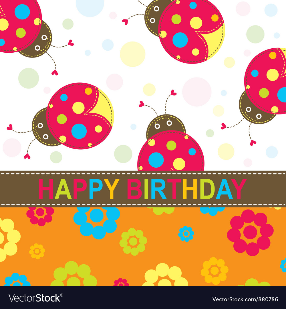 Ladybug Birthday Card Royalty Free Vector Image – Ladybug Birthday Cards