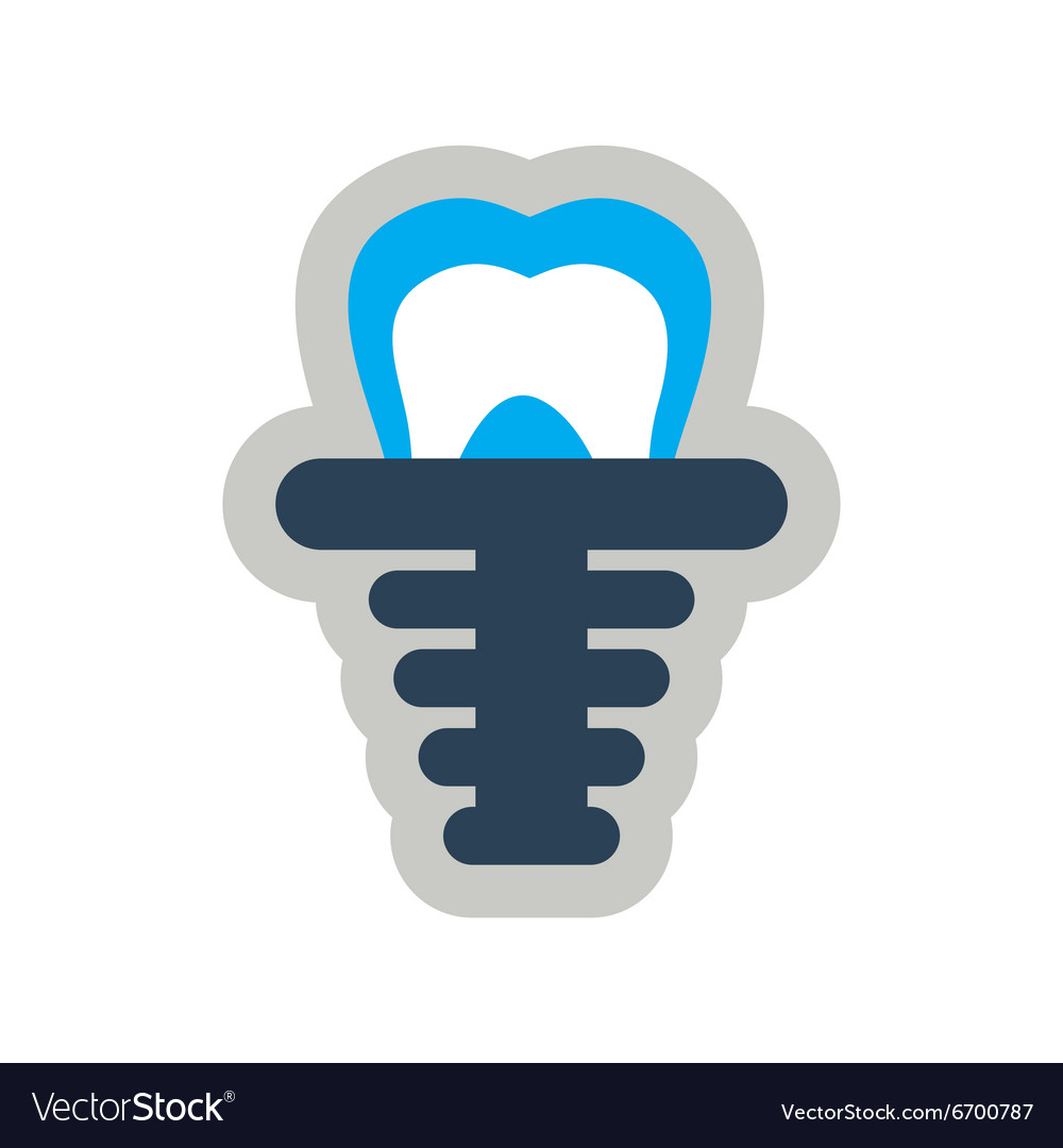 Icon of artificial tooth in flat style