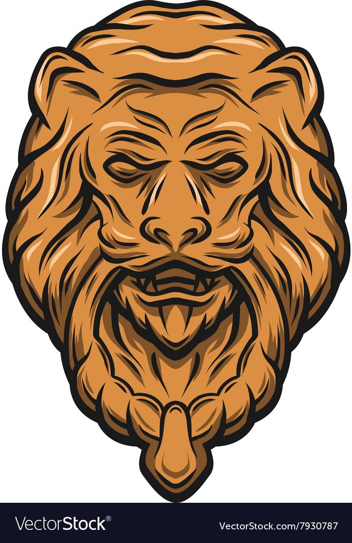 Golden lion head door knocker Royalty Free Vector Image