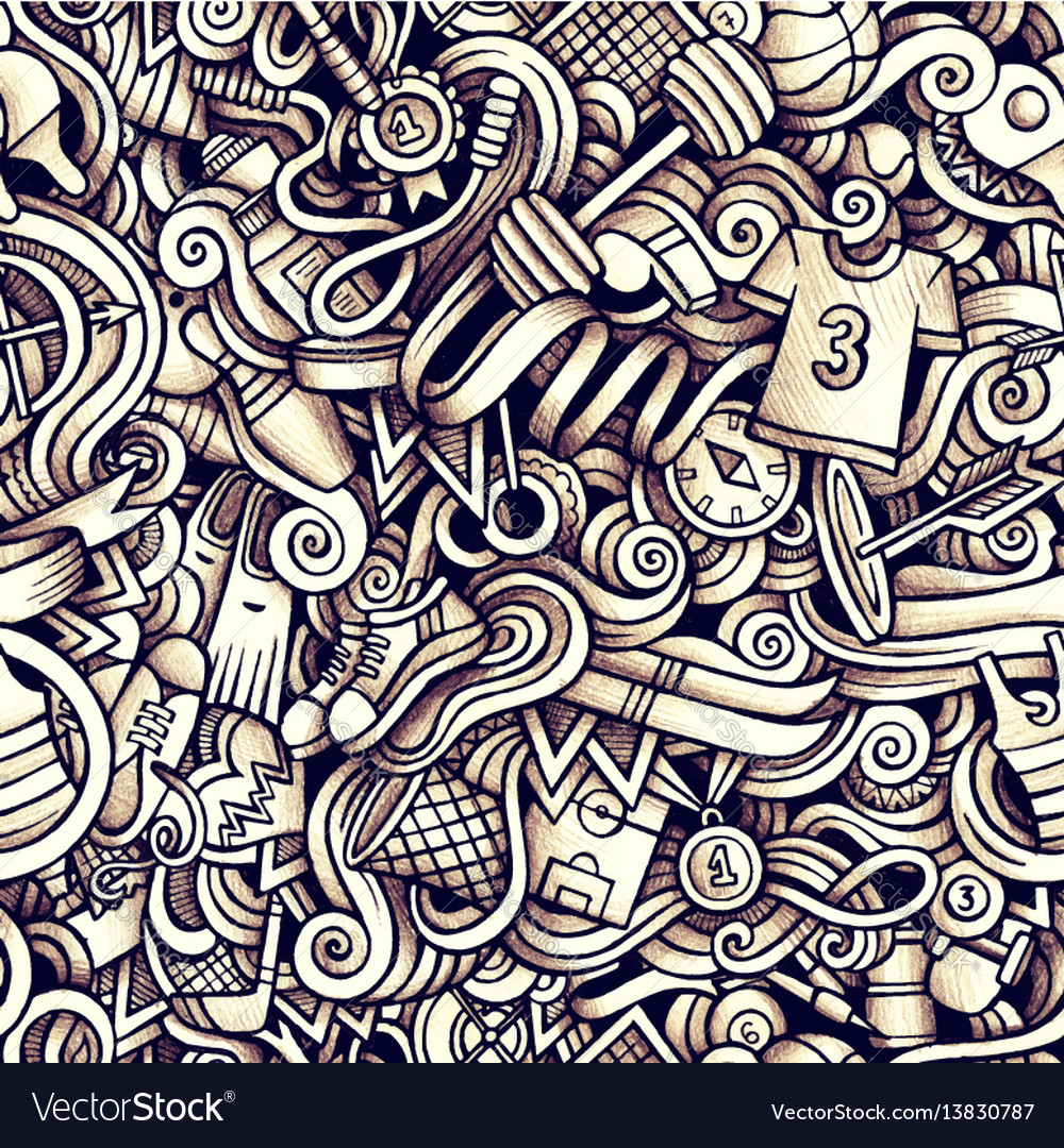 Graphic sport hand drawn artistic doodles seamless vector image