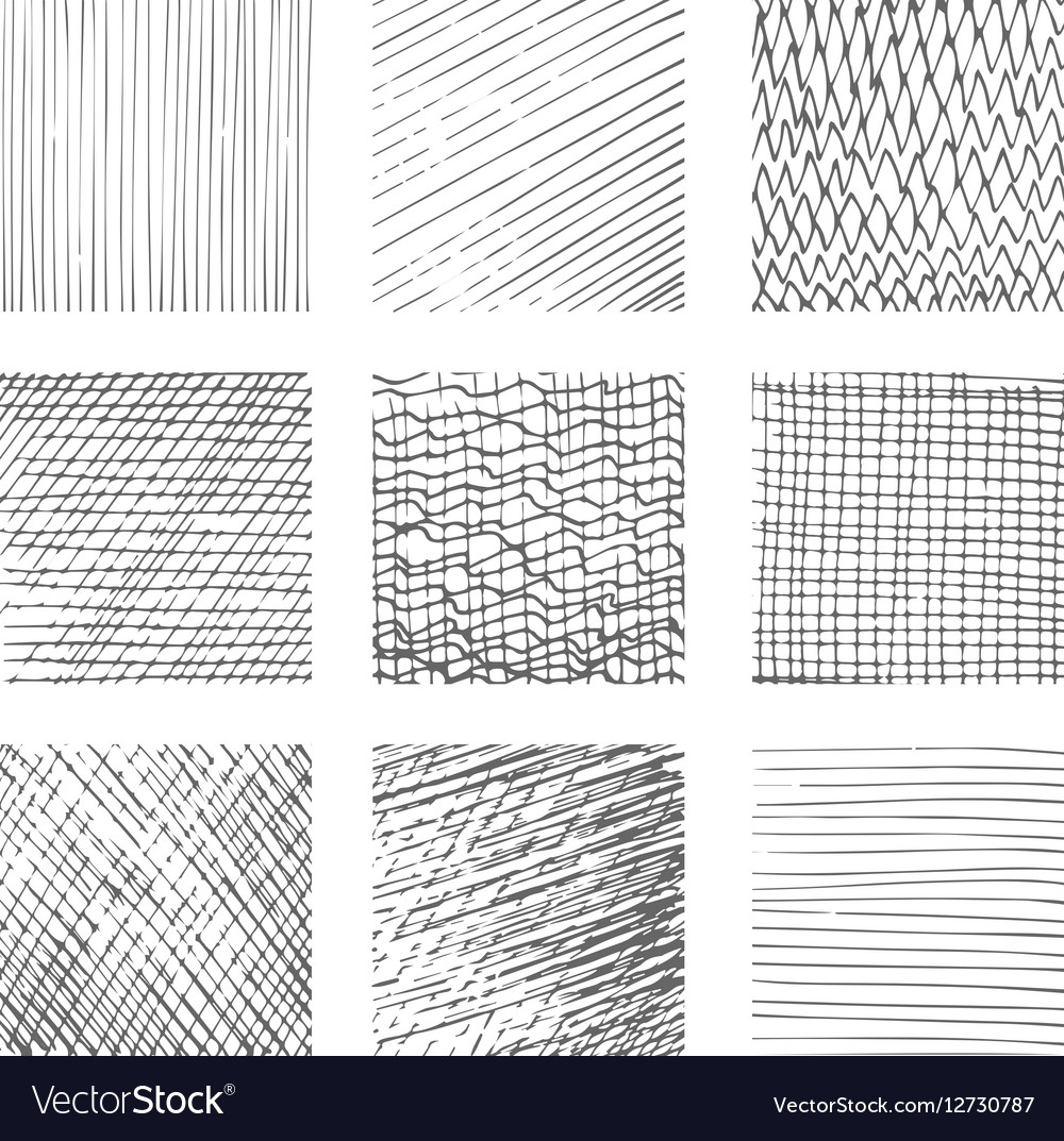 Hatching Textures Cross Lines Canvas Pattern Vector Image