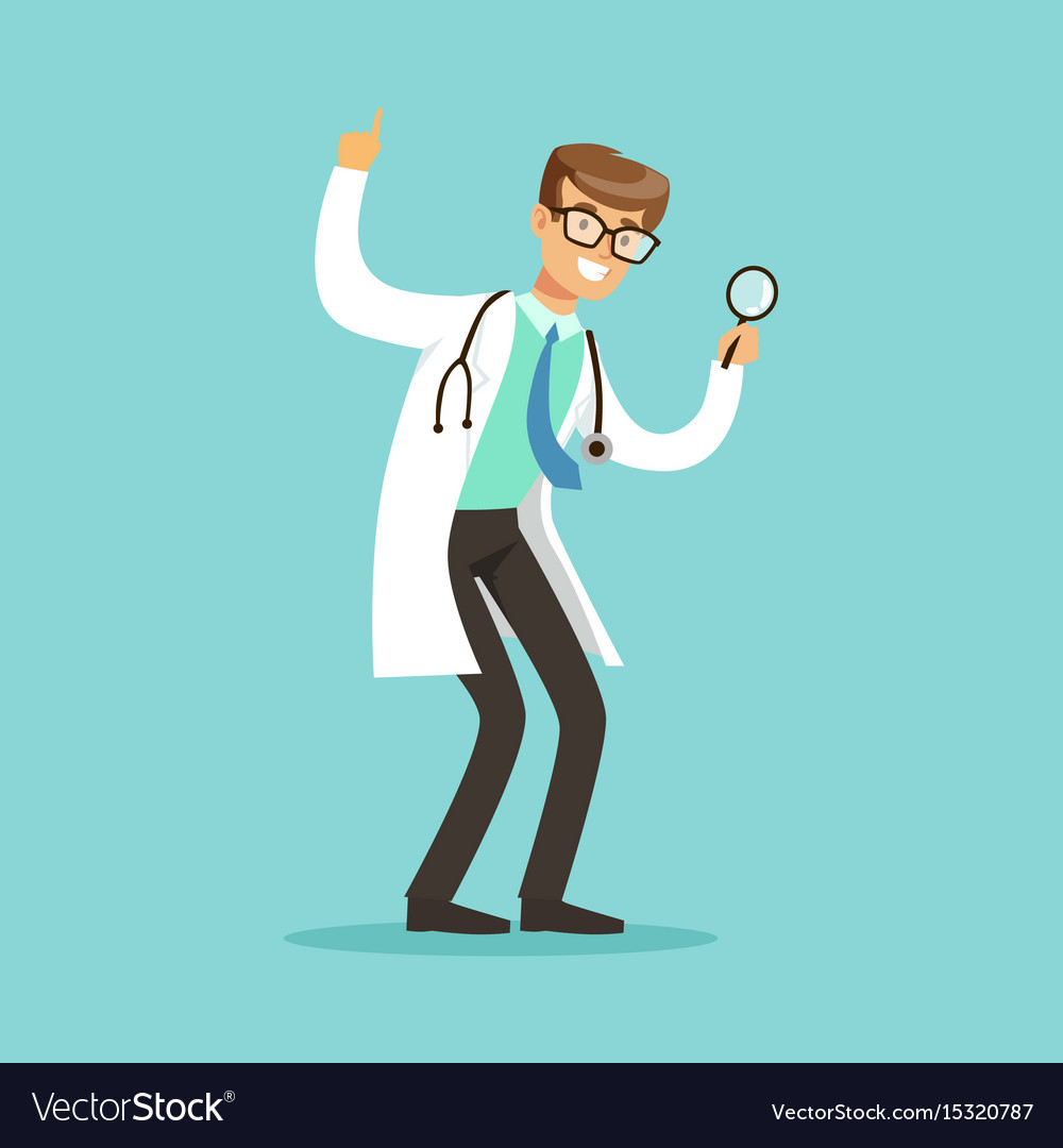 Smiling male doctor character standing and looking vector image