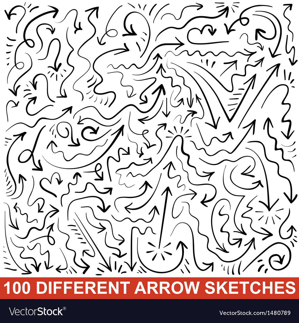 Set of hand drawn arrow sketches Black graphic vector image